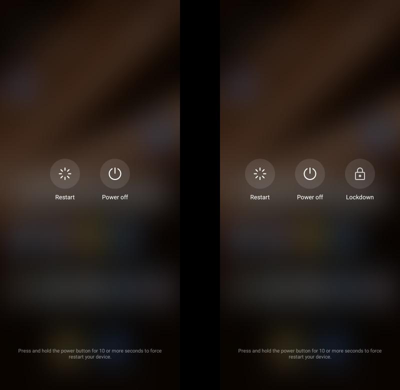 Преди и след като активирате Lockdown Mode